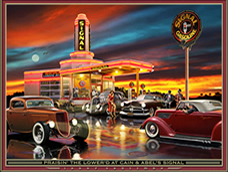 hot rods, autos, planes, trains artwork by Larry Grossman